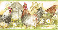 Rooster Chicken Coop Country Kitchen Scroll Fence Flower Green Wall paper Border
