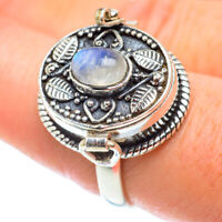 Rainbow Moonstone 925 Sterling Silver Poison Ring Size 8.5 Jewelry R54976