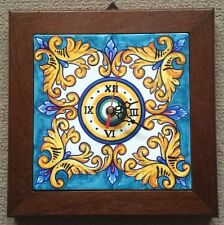 Deruta Pottery-wall clock10,1/2x10,1/2In. Vario-Mediterranean pine-made in Italy