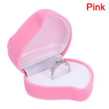 Ring Box Heart-shape Earrings Jewelry Gift Carring Wedding Velvet Red Rose BoxJC