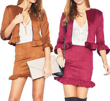 Womens Ladies Suedette 2 Piece Co-Ord Set Frill Ruffle Blazer Pencil Skirt Party