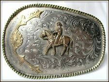 Vintage & Amazing Hand Made & Engraved HORSE & RIDER Unusual Size Belt Buckle