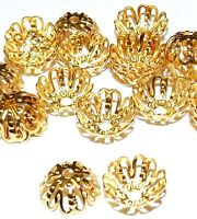 ML531 Bright Gold Plated Brass Filigree 12mm Round Bead Caps 100pc