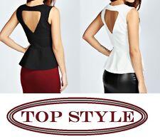 Ladies Women Cut Out Back Textured  Fabric Peplum Dress Sexy Mini Top Size 8-14