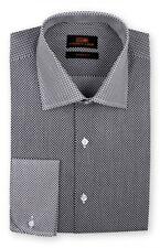 Steven Land Men's French Round Cuffs Contrast & Spread Collar Shirt TW716 Black