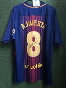 Andres Iniesta Barcelona Signed Nike Jersey Soccer Autographed Beckett BAS COA