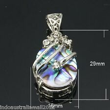 Genuine Natural Abalone Paua Shell Pendant with Rhinestones For Necklace (E001)