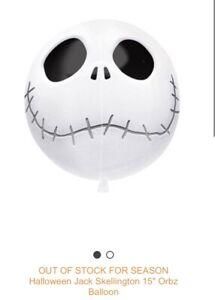 "Halloween Jack Skellington Nightmare Before Christmas 15"" Orbz Balloon"