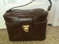 Vintage Sears Luggage Train Case Cosmetic Case Carry On Makeup Bag Brown