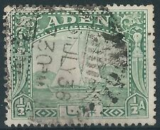 c196] Aden. 1937. Used. SG 1 1/2a Yellow-green. Boats