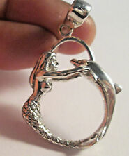 With Matching Ring Size 8 Sterling Silver Mermaid And Dolphin Pendant