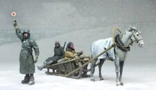 1:35 German Army Soldiers in Winter Resin Model Kit 3 Figures Horse Sledge WWII