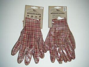 Garden Girl Womens Gardening Weeding Gloves 2 Pairs (Size Large)