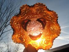 Fenton Carnival Glass DRAGON and LOTUS Bowl Amethyst Orange Opal Colour