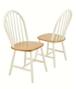Pair Of Classic Farmhouse Style Dining Kitchen Solid Wood Chairs - Two Tone