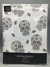 Cynthia Rowley Tablecloth Silver Shimmer Sugar Skulls Halloween 60x84 Fabric NEW