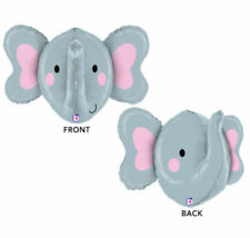 "Elephant Head Large Safari Animal 34"" Foil Balloon Mylar Gray Pink Party Event"
