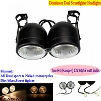 Dominator Round Headlight Twins Headlamp w/Bracket For Streetfighter Motorcycle