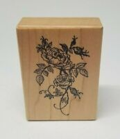 """PSX Roses wood mount rubber stamp E-528 2 3/4"""" x 2"""" floral flowers"""