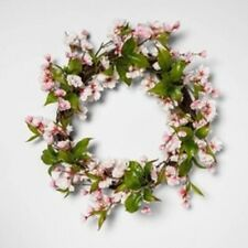 "18"" Artificial Cherry Blossom Wreath Pink & Green Threshold Home Decor NEW Round"