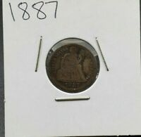 1887 P Liberty Seated Silver Dime Coin Choice VG Very Good Circulated Condition