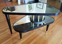 VINTAGE ANTARES TRIANGULAR EBONIZED LACQUERED MIRROR TOP SWIVEL SIDE TABLE