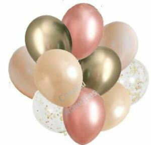 """10 High Quality Chrome Gold, Peach, Blush, and Rose Gold Balloons 11"""" Bouquet"""