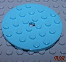 SK81) 2 Stück Bau Platte rund 6x6 in medium azur blau mit Loch 11213 & NEU !