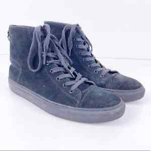 All Saints Black Suede Leather Hi Top Lace Up Casual Sneakers Shoes Mens 42 US 9