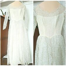 Vintage 50s Lace Wedding Dress Size Small Pleated Tulle Sheer Off White Gown