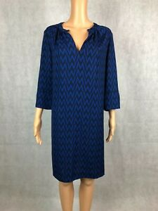 NEXT Relaxed Fit Blue Geometric 3/4 Sleeve Day to Night Dress - UK 18 EUR 46