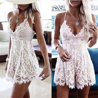 Womens Lace Mini Playsuit Off Shoulder Jumpsuit Summer Holiday Beach Dress Lot