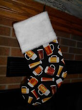 Beer Mugs, Ale, Stout, Mug, Cerveza, Brews, Draft Handmade Christmas Stocking