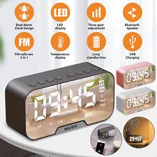 Digital Radio Fm Radio Alarm Clock Large Led Display Mirror Bluetooth Speaker Us