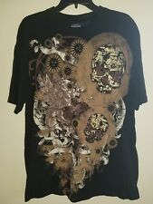 Vintage Bugle Boy Original Black Skull Dragon Sun Pattern T Shirt Size Large