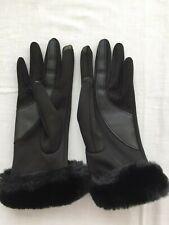 1 pair gloves smart phone touch screen winter black fur fleece lined