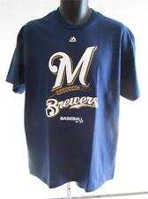 NEW MILWAUKEE BREWERS ADULT MENS LARGE L  Shirt by MAJESTIC 63NB