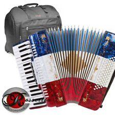 NEW Rossetti 3460 60 Bass 34 Keys 5 Switch Piano Accordion RED WHITE BLUE + BAG