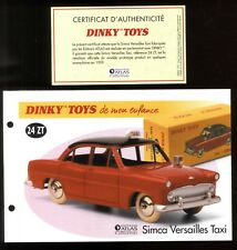 Dinky toys/atlas certificate and certificate for heading 24 zt simca versailles taxi