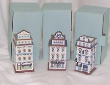 PartyLite Tealight House Collection Three Houses Hand Painted Porcelain