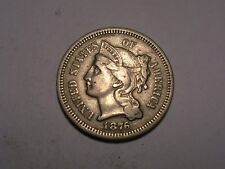 1876 Three Cent Piece (VF/XF, Scarcer, & Attractive)