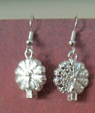 "Peacock Earrings on a  silver plate fish hook wire ""570"" !"