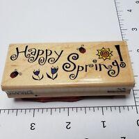 Vintage Happy Spring Stamp Unused Rubber Stamp Wood Mount