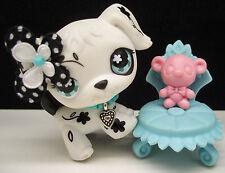 LITTLEST PET SHOP #469 BLACK WHITE FLOWER DALMATION DOG BOW CHAIR ACCESSORIES
