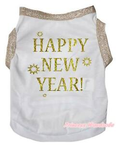 Gold White Top T-Shirt Happy New Year Pet Cat Dog Puppy One Piece Clothes