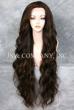 "EXTRA long 32"" Lace Front Wig HEAT SAFE Brown Blonde Mix Wavy JSTA 4-27"