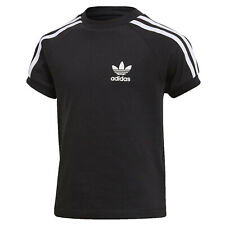 ADIDAS ORIGINALS KINDER 3 STRIPES TREFOIL SHIRT RETRO CALIFORNIA SCHWARZ 110-128