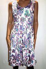 Chutney Mary Brand White Pink Green V Neck Poplin Dress Size 14 BNWT #TP40