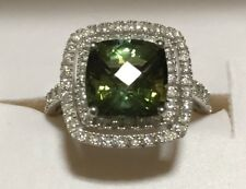 3.90CT CUSHION GREEN TOURMALINE & .75CT DIAMOND 14K SOLID WHITE GOLD ESTATE RING