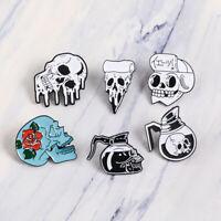 Pot Rose Skull  Punk Badges Gothic Lapel Pin Enamel Brooch Pizza Skeleton
